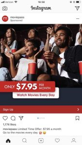 Moviepass instagram ad