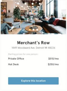 Pricing for WeWork in Detroit